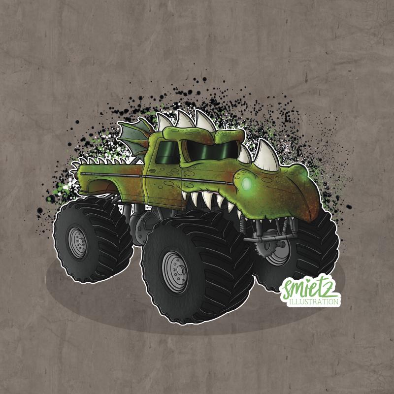 Illustration Dino Monstertruck